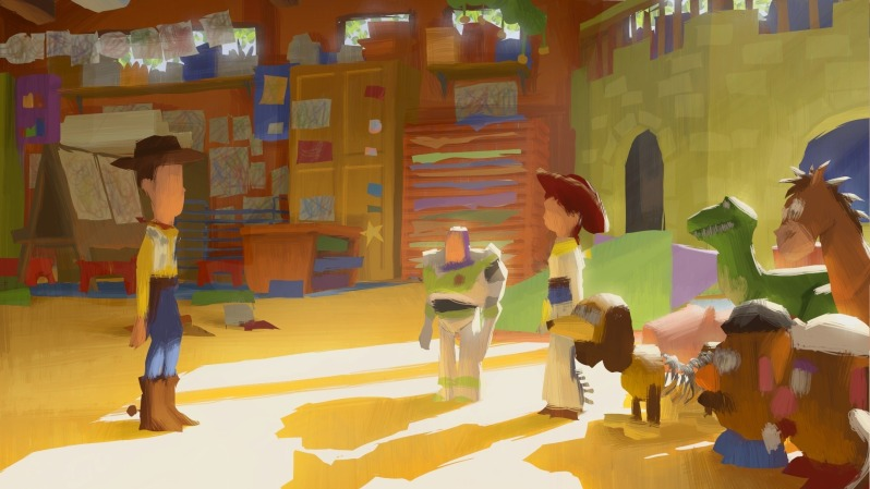 Toy Story 3 Sunnyside : Light and colours animation with a moustache